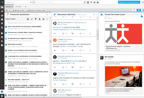 Capture d'écran HootSuite Syndicator